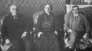 Rada Regencyjna. Od lewej: Józef Ostrowski, abp Aleksander Kakowski, ks. Zdzisław Lubomirski