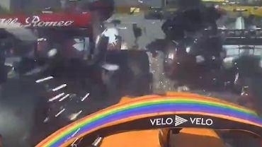 Wypadek z perspektywy bolidu Carlosa Sainza