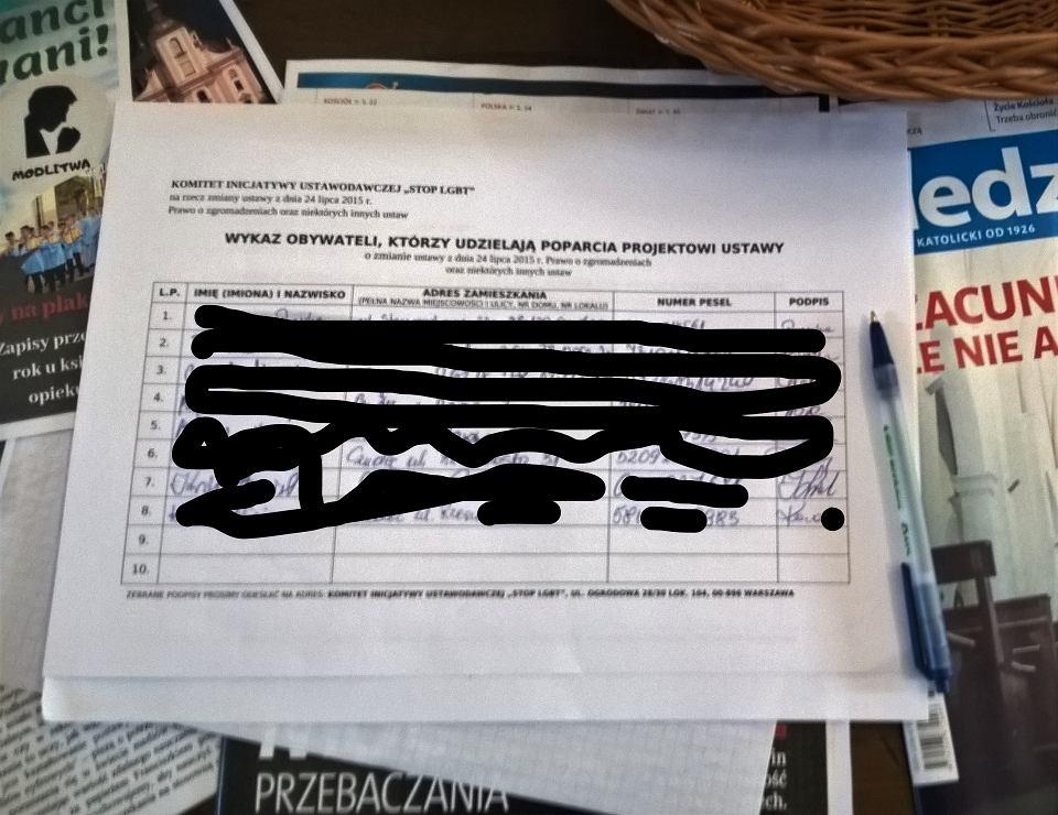 Wykaz obywateli, którzy popierają  ustawę 'Stop LGBT', na których widać dane wrażliwe w kościele parafii Trójcy Św. w Czudcu