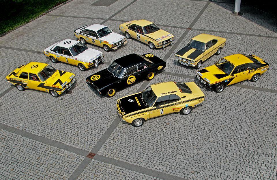 Yellow fleet: Rekord C Black Widow, Opel Ascona A Rallye, 1974; Opel Ascona B i2000, 1979; Opel Kadett C GT/E2 Coupe Group 1, 1977; Opel Commodore B GS/E, 1973; Opel Kadett B, Group 1, 1971 (Anders Kulläng/Bruno Berglund); Opel Kadett C GT/E Coupe Group 4, 1976, Opel Manta A GT/E, Group 2, 1975.