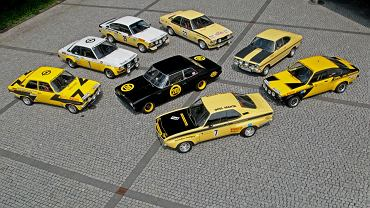 Yellow fleet: Rekord C Black Widow, Opel Ascona A Rallye, 1974; Opel Ascona B i2000, 1979; Opel Kadett C GT/E2 Coupe Group 1, 1977; Opel Commodore B GS/E, 1973; Opel Kadett B, Group 1, 1971 (Anders Kulläng/Bruno Berglund); Opel Kadett C GT/E Coupe Group 4, 1976, Opel Manta A GT/E, Group 2, 1975.