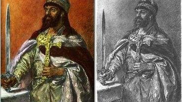 Mieszko I klasyczny według Jana Matejki - z wielkim krzyżem i jeszcze większym mieczem. Broda, oczywiście, gęsta. Najbardziej znany wizerunek władcy