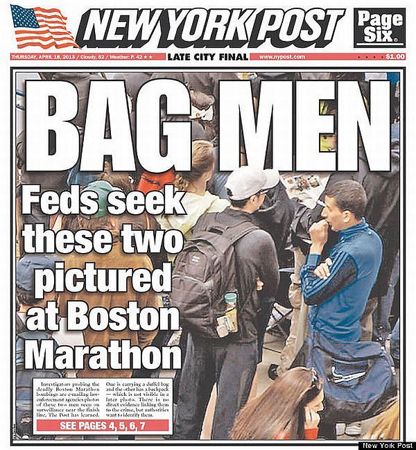 Kontrowersyjna okładka New York Post, na której okrzyknięto winnymi zamachów w Bostonie dwóch niewinnych mężczyzn