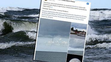 Trąba powietrzna na Morzu Bałtyckim, widziana na plaży w Jastarni.
