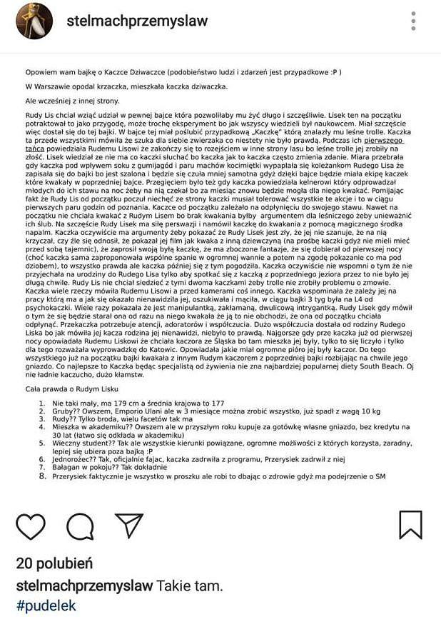 Post z Instagrama Przemka ze 'Ślubu od pierwszego wejrzenia'