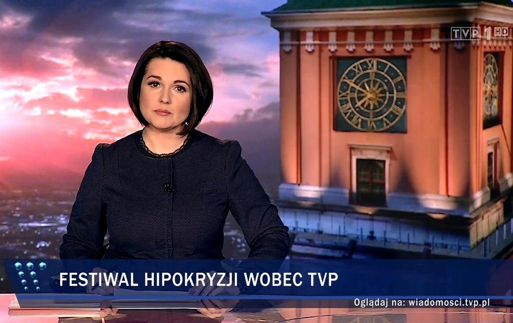 Edyta Lewandowska po raz pierwszy prowadzi 'Wiadomości' TVP