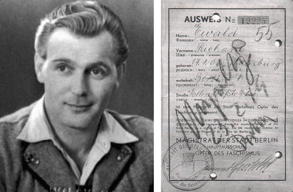 """Heinz Heger, właśc. Josef Kohout (fot. wikimedia.org / public domain). Obok Unieważniona legitymacja przyznająca uprawnienia """"ofiary faszyzmu"""" byłemu więźniowi obozu. Magistrat Berlina Wschodniego unieważniał prawa do odszkodowań więźniom z różowymi trójkątami (fot. Amys / wikimedia.org / public domain)"""