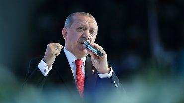 Prezydent Turcji Recep Erdogan na wiecu wyborczym w Ankarze, 24.05.2018