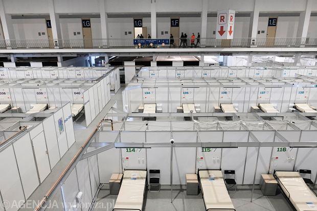 Pandemia koronawirusa. Budowa szpitala tymczasowego dla pacjentów z Covid-19. Poznań, MTP, 21 listopada 2020