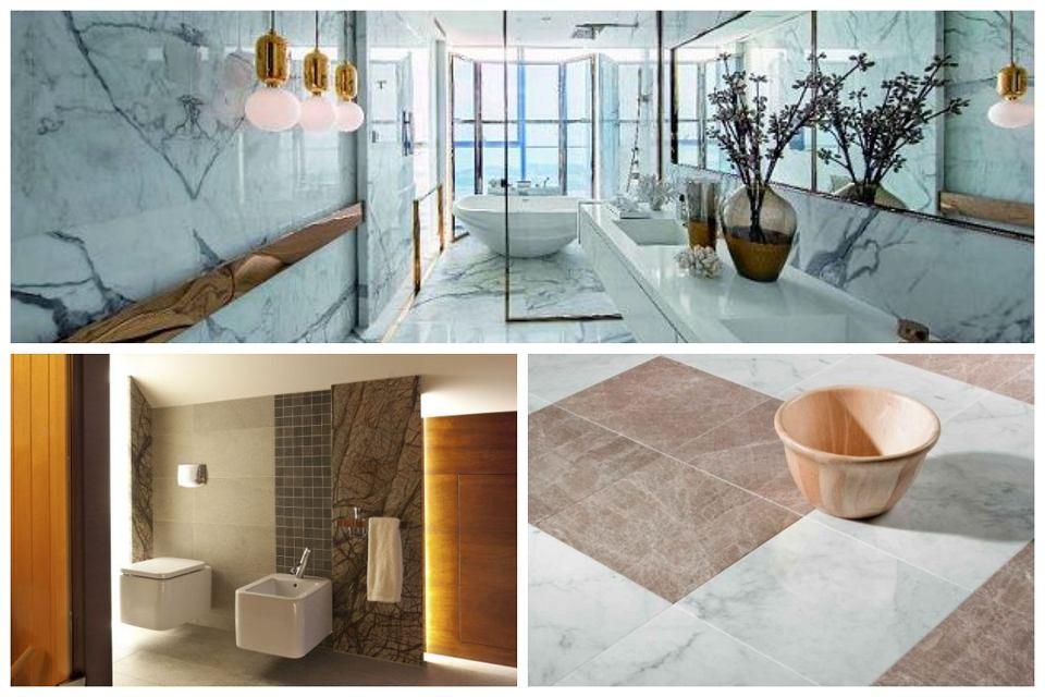 Marmur na ścianach i podłodze w łazience