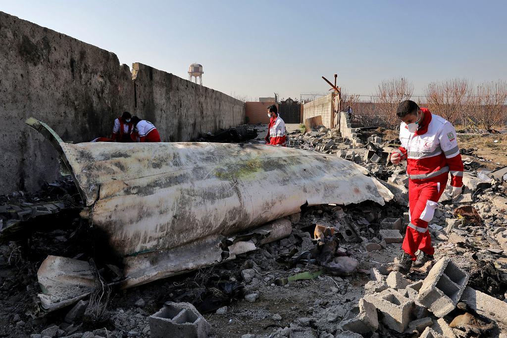 8.01.2020, Teheran, szczątki zestrzelonego ukraińskiego Boeinga.