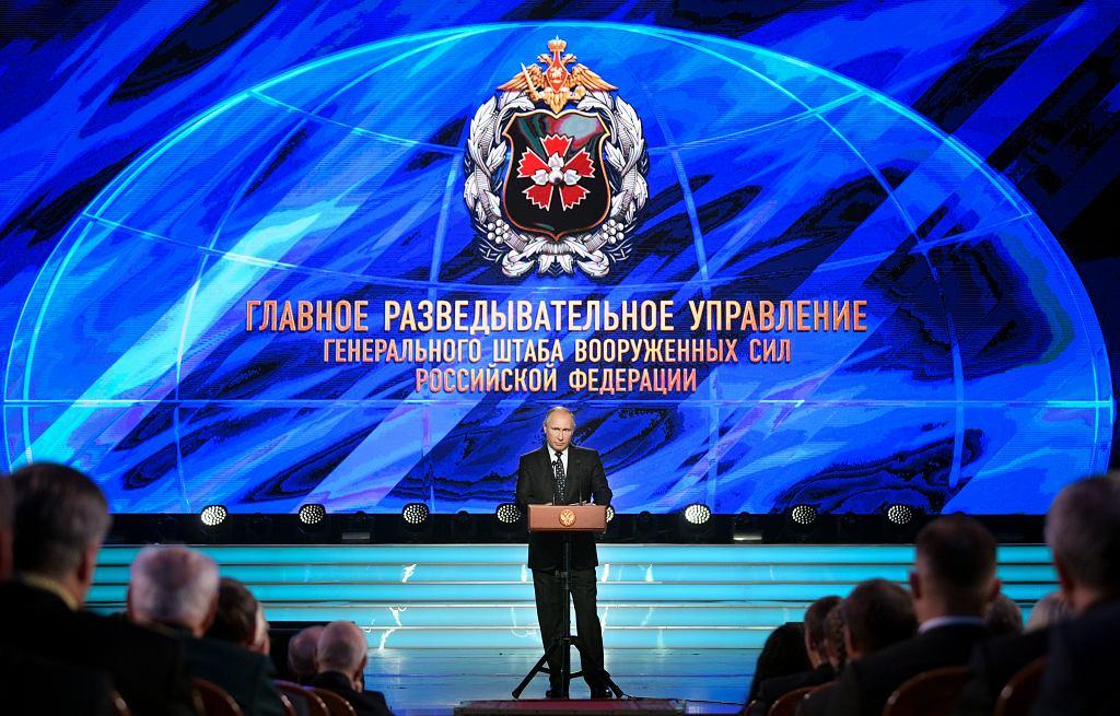Prezydent Władimir Putin przemawia na spotkaniu z oficerami wywiadu wojskowego Rosji, GRU w Moskwie, 2 listopada 2018 roku.