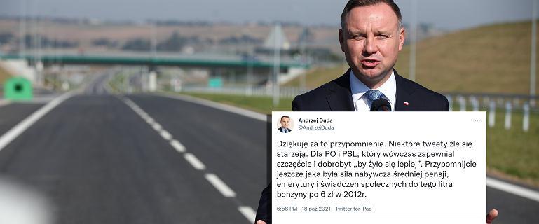 Andrzej Duda odpowiada Andrzejowi Dudzie na wpis z 2012 roku nt. benzyny