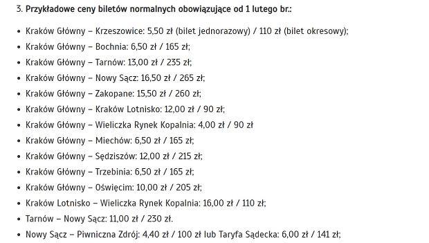 Przykładowe ceny biletów po zmianie cennika, podane przez Koleje Małopolskie