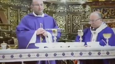 Biskup wypił whiskey zamiast wina w czasie mszy