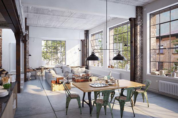 Industrialny penthouse, w którym klimat tworzą przede wszystkim mury z cegły, betonowy sufit i podłoga, drewniane belki, także wielka przestrzeń z ogromnymi oknami