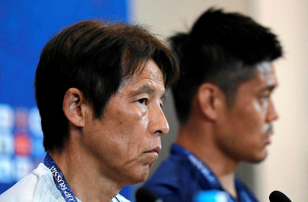 MŚ 2018. Trener Akira Nishino i bramkarz Eiji Kawashima przed meczem Polska - Japonia