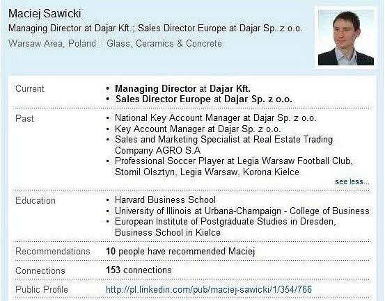 CV Macieja Sawickiego w serwisie Linkedln