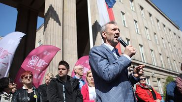 Manifestacja pod MEN. Sławomir Broniarz