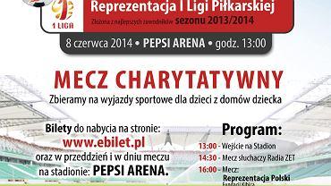 Plakat promujący charytatywny mecz