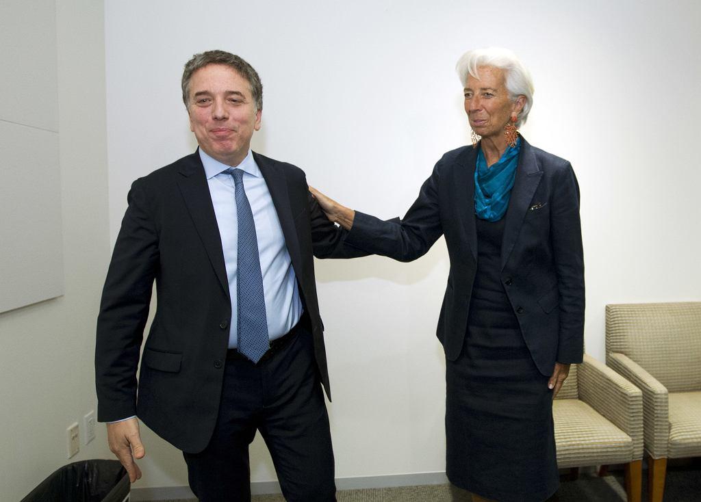 Argentyński minister skarbu Nicolas Dujovne i szefowa MFW Christine Lagarde
