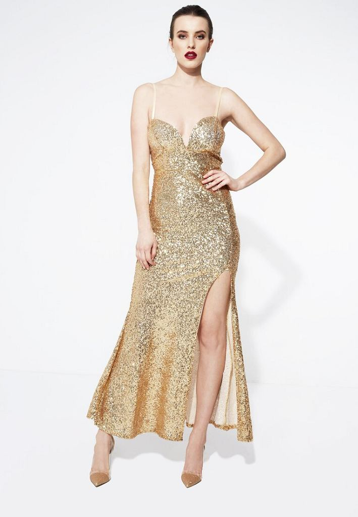 Złota sukienka brokatowa