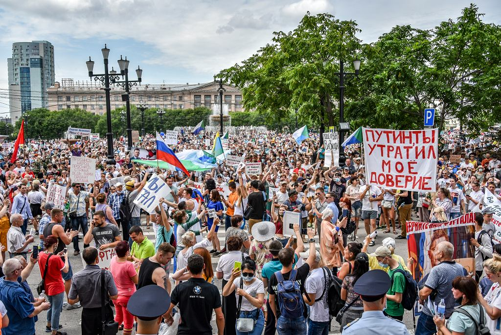 Rosja. Protest w Chabarowsku.