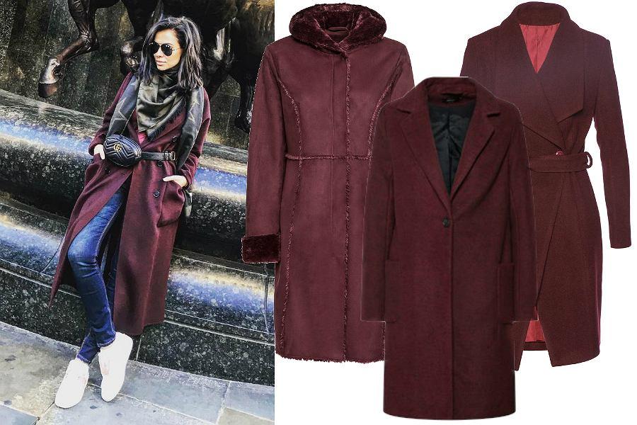 Bordowe płaszcze na jesień
