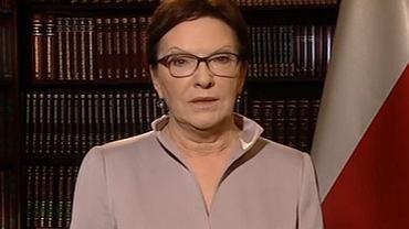 Premier Ewa Kopacz podczas orędzia w sprawie uchodźców