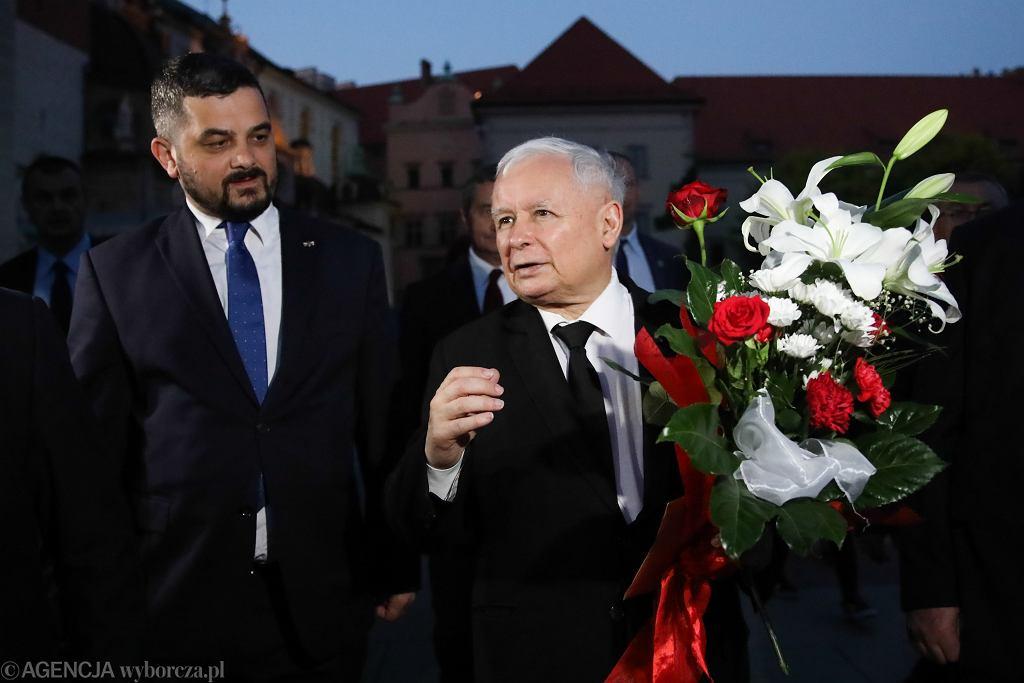 18.06.2019, Kraków, Jarosław Kaczyński i Krzysztof Sobolewski podczas obchodów 70. rocznicy urodzin Lecha Kaczyńskiego.