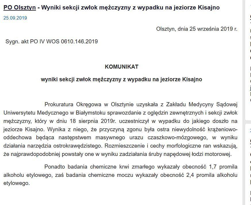 Wyniki sekcji zwłok Piotra Woźniaka-Staraka