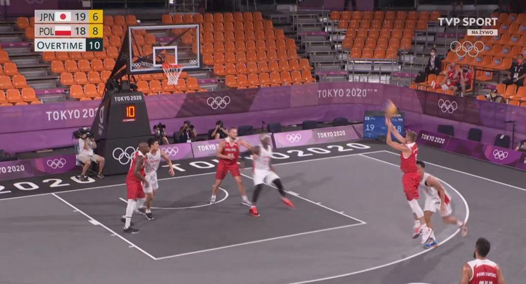 Koszykówka 3x3: Polska - Japonia 20:19. Rzut Zamojskiego
