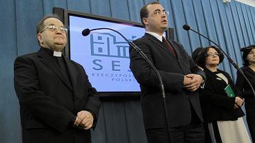 Ojciec Tadeusz Rydzyk i poseł Andrzej Jaworski w Sejmie, 2013 r.