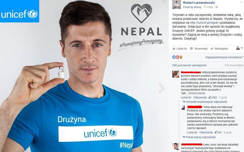 Robert Lewandowski wziął udział w akcji UNICEF.