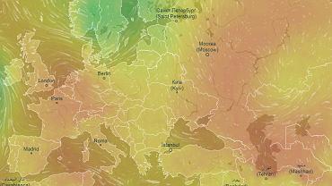 Hypatia nad Polską. Pogoda się popsuła. Kolor zielony to niskie ciśnienie
