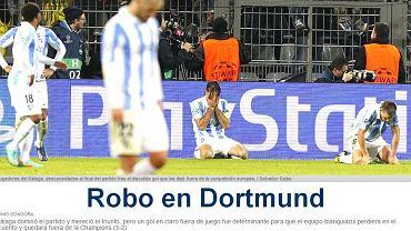 ''Kradzież w Dortmundzie'' - pisze ''Diario Sur''