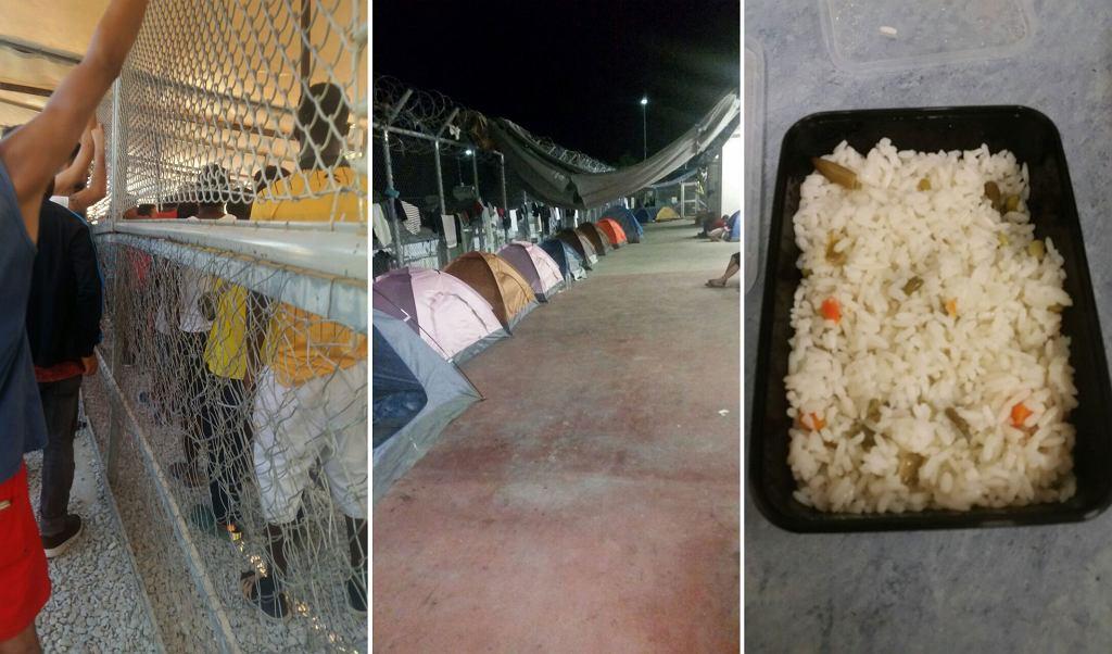 Obóz Moria, Lesbos. Od lewej: kolejka po posiłek, namioty turystyczne, w których mieszkają uchodźcy, obiad i kolacja od 2015 roku.