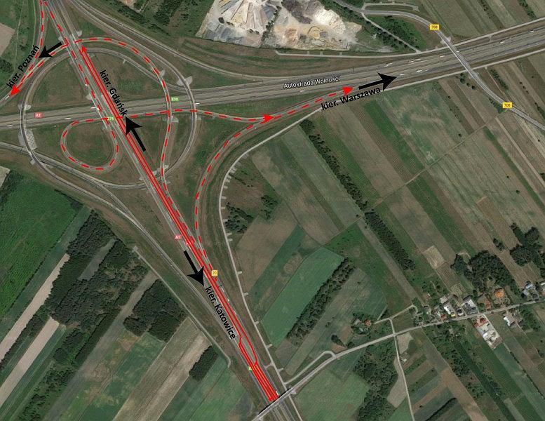 Zmiana organizacji ruchu na węźle Łódź Północ na A1