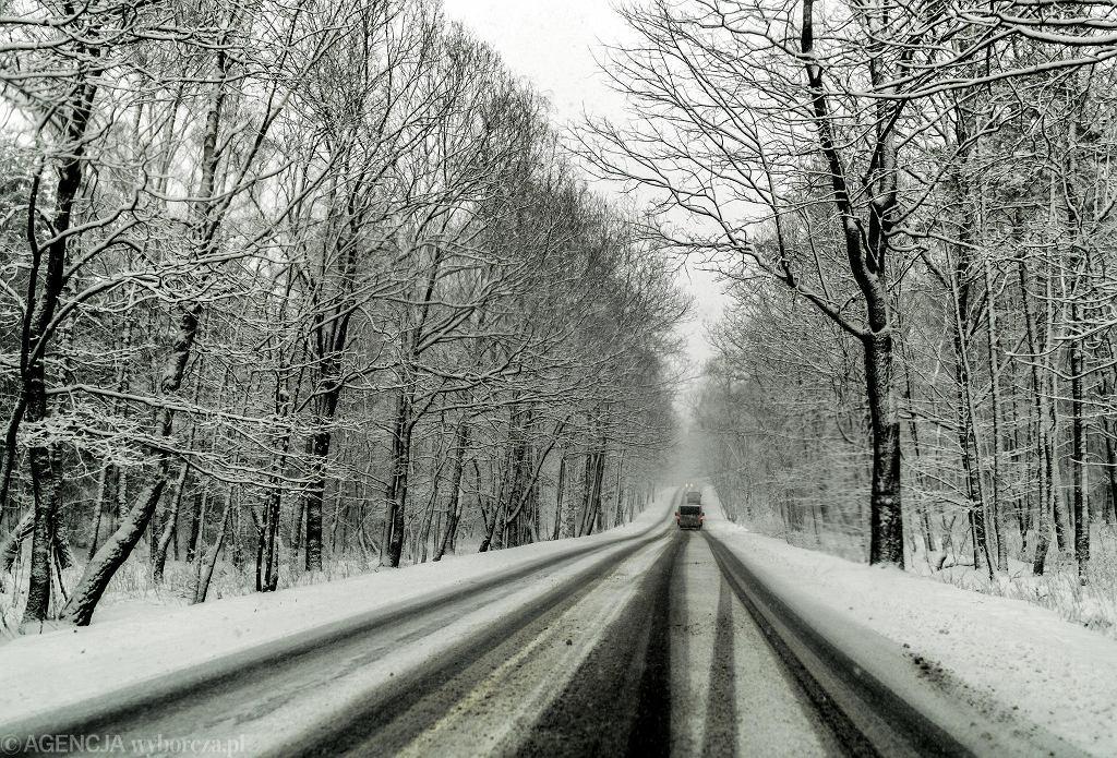 Zima, zaśnieżona droga