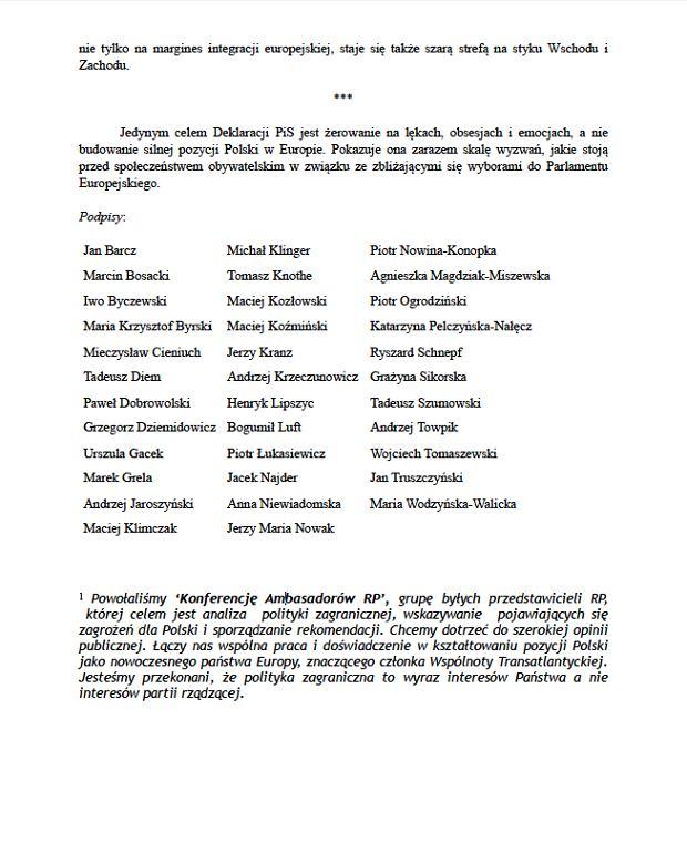 Oficjalne stanowisko 'Konferencji Ambasadorów RP' ws. Deklaracji Europejskiej PiS-u