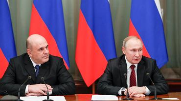 Russian President Vladimir Putin, right, and new Russian Prime Minister Mikhail Mishustin.