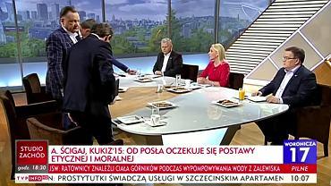 Andrzej Halicki, Adam Struzik i Piotr Misiło opuszczają studio programu 'Woronicza 17' w TVP Info, 13.05.2018