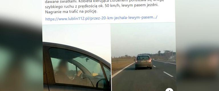 50 km/h, lewym pasem, po drodze ekspresowej. Nagrał ją niecierpliwy kierowca