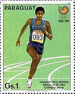 Pamiątkowy znaczek pocztowy z Joaquimem Cruzem