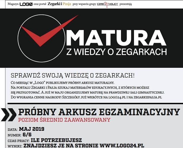 Matura z wiedzy o zegarkach - arkusz 6/6