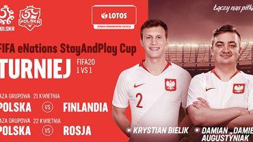 FIFA eNations StayAndPlay Cup - reprezentanci Polski w międzynarodowym turnieju FIFA 20: Krystiak Bielik oraz Damian Augustyniak. Źródło: Twitter, 2020