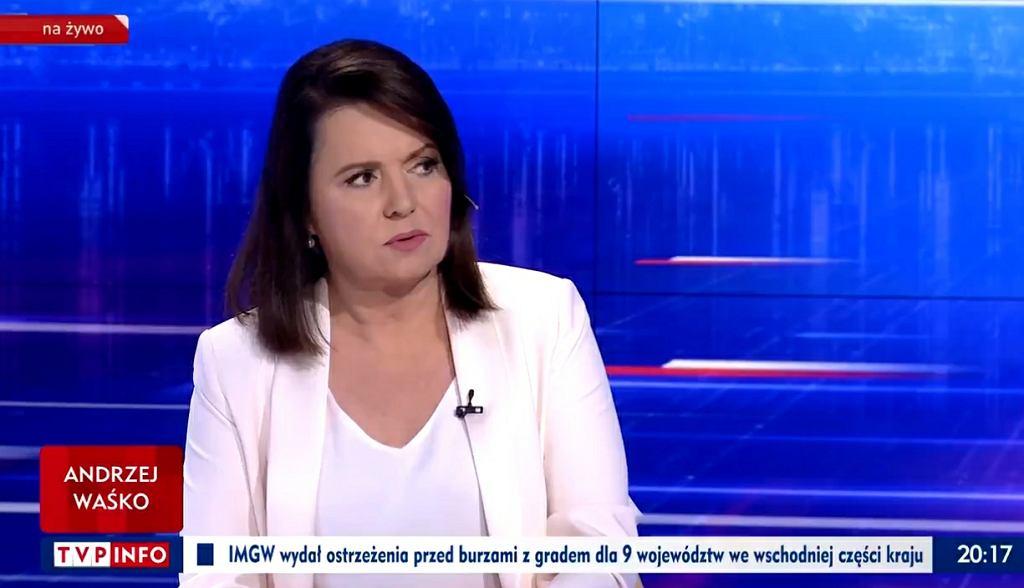 Danuta Holecka w programie 'Gość Wiadomości'