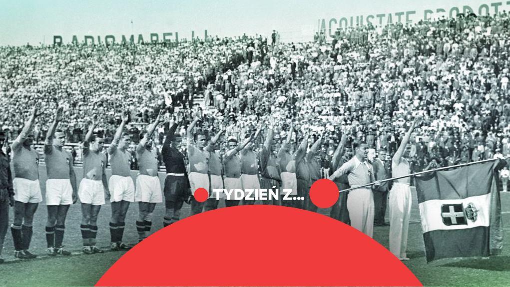 Faszystowski salut włoskich piłkarzy przed finałem z Czechosłowakami w Rzymie
