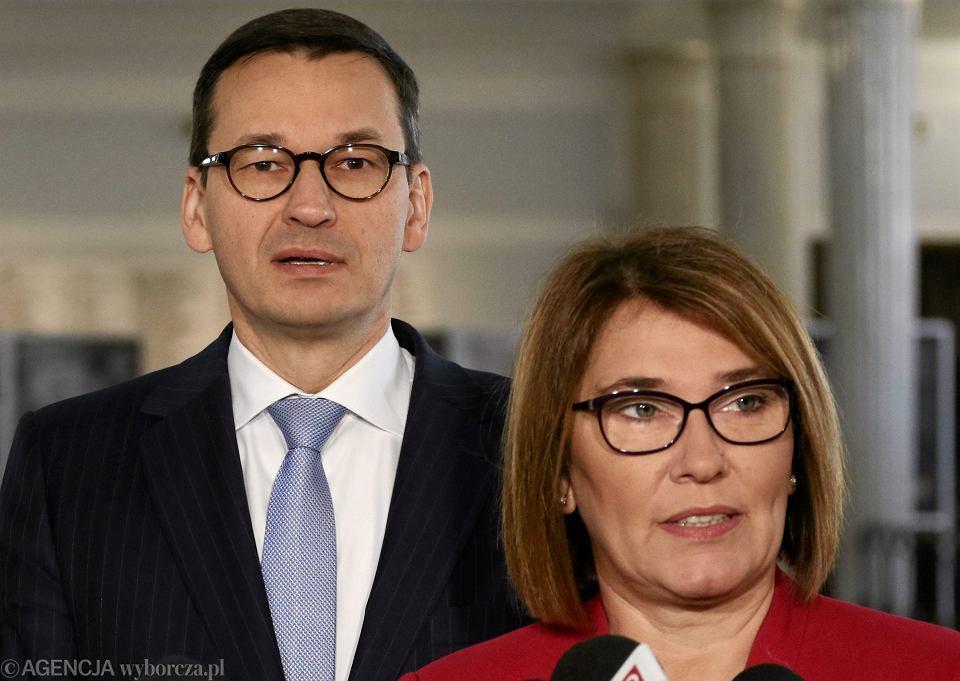 Premier Mateusz Morawiecki i rzecznik rządu Beata Mazurek