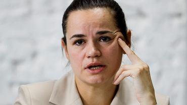 Swietłana Cichanouska, kontrkandydatka 'Baćki' w sfałszowanych wyborach prezydenckich na Białorusi